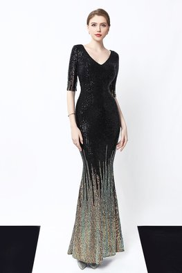 Black / Green V-Neck Elbow Sleeves Mermaid Sequin Dress
