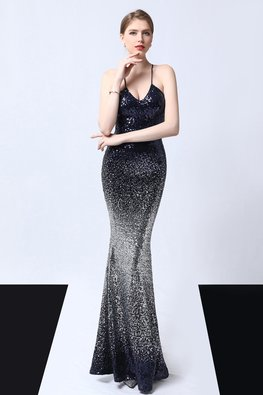Navy Blue Silver U-Strap Scoop Neckline 2-Tone Mermaid Gown