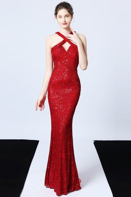 Green / Red Sweetheart Criss-Cross Back Slit Sequin Dress
