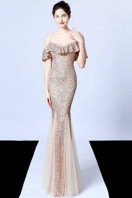 Gold / Navy Blue Sweetheart Overlay Strap Mermaid Gown