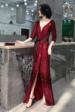 Champagne / Wine Red V-Plunge Ribbon Gown
