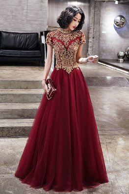 Wine Red High Neck Cap Sleeves Elaborated Oriental Gown