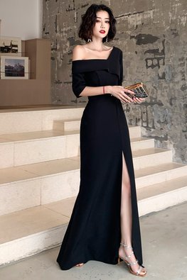 Black Single Off-Shoulder Front Slit Gown