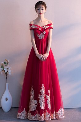 Wine Red / Red Off-Shoulder Oriental Embroidery Gown