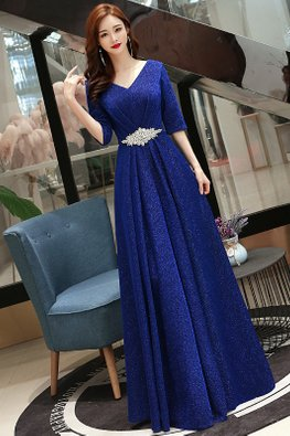 Assorted Colours V-Neck Elbow Sleeves Glitter Gown