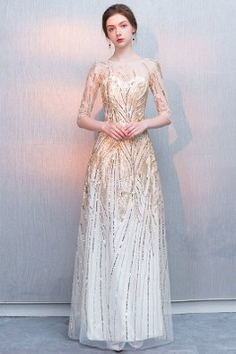 Champagne Sweetheart Illusion Sleeves Sequins Gown