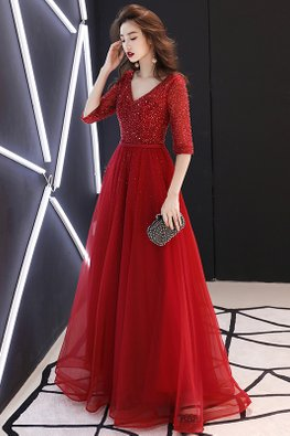 Wine Red V-Neck Elbow Sleeves Tulle Gown