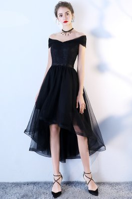 Black / Wine Red Off-Shoulder Wrap Sleeves Ribbon Back Hi-Lo Tulle Gown