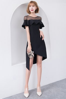 Black Illusion Neckline Ruffle Asymmetrical Hemline Dress