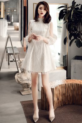 White / Black High Neck Open-Arm Illusion Sleeves Feather Dress