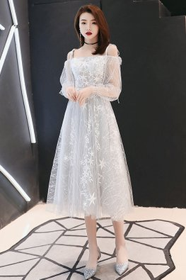 Light Grey Ribbon Tie Illusion Sleeves Stars Midi Sheer Gown