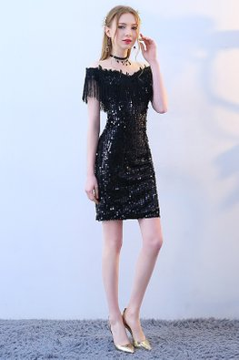 Black Off-Shoulder Tassels-Lined Sequin Dress