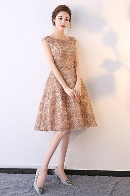 Khaki Round Neck Cap Sleeves Floral Petals Dress