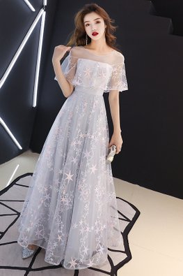 Grey Straight-Across Illusion Sleeves Stars Gown