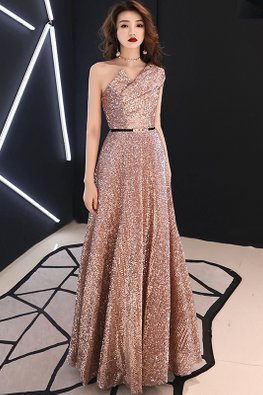 Nude Pink / Black One-Shoulder Sequins Gown