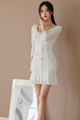 White U-Neck Button Down Lace Mermaid Dress