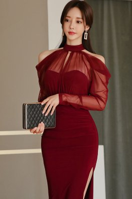 Wine Red Halter Illusion Open Sleeves High Slit Dress