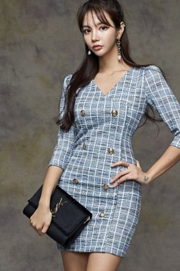 Blue V-Neck 3/4 Sleeves Check Patterned Sheath Dress
