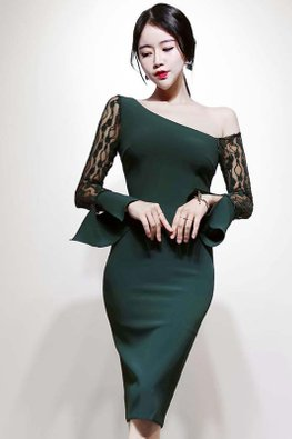 Green Side Off-Shoulder Lace Illusion Trumpet Sleeves Sheath Dress