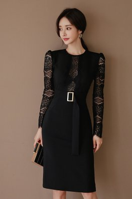 Black Round Neck Lace Patterned Sleeves Peekaboo Center Dress