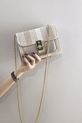 Khaki / Black Stripes Chain Bag