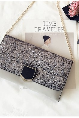 Assorted Colours Rectangular Glitter Slide-In Clutch Bag