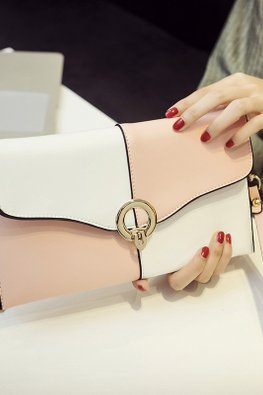 Assorted Colours Alternate Colour Block Clutch Bag