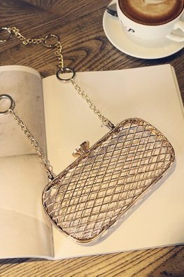 Gold See-Through Netted Clutch Bag