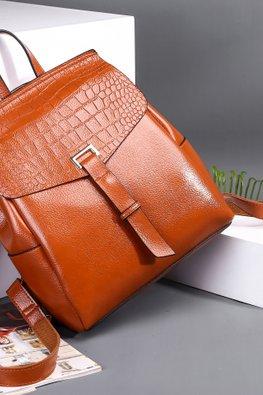 Black / Brown Crocodile Leather Print Flap 2-Way Backpack