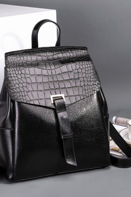 Black / Brown Crocodile Leather Print Flap 2-Way Backpack