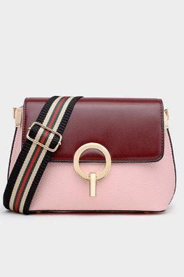 Blue / Pink Double Tone Stripe Sling Bag