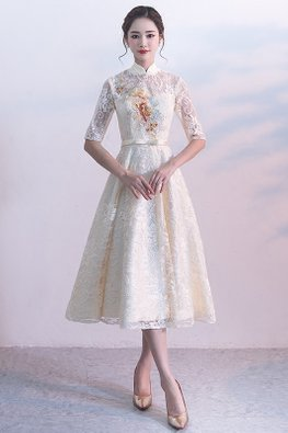 Champagne Sweetheart Mandarin Collar Illusion Neckline Lace Midi Dress