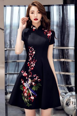 Black Mandarin Collar Short Sleeves Plum Blossoms Cheongsam