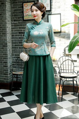2-Pc Green Mandarin Collar Elbow Sleeves Top + Skirt