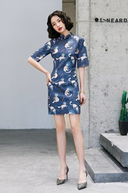 Blue Mandarin Collar Scallop Hemline Space Cat Cheongsam