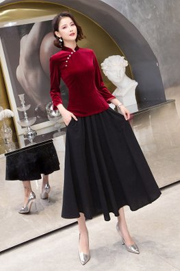 2-Pc Blue / Red Mandarin Collar Velvet Top + Skirt