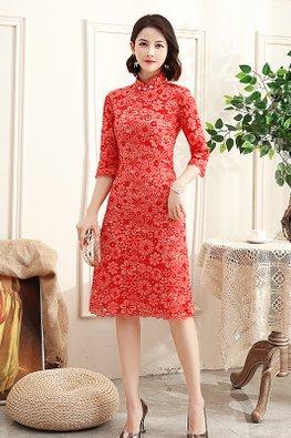 Red Mandarin Collar Floral Lace Cheongsam