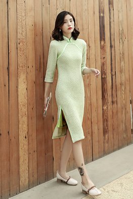 Pink / Green Mandarin Collar Lace Trimmings Cheongsam