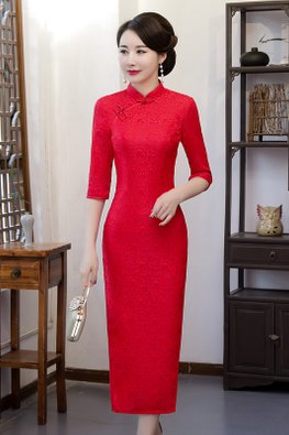 Bright Red Mandarin Collar Elbow Sleeves Full Lace Cheongsam