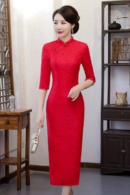 Bright Red Mandarin Collar Elbow Sleeves Full Lace Cheongsam