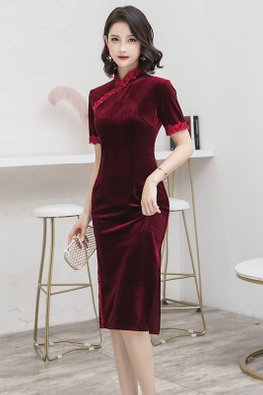 Wine Red Lace Trimmings Short Sleeves Velvet Cheongsam