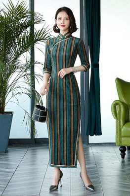 Green Brown Trimmings Side Slit Stripe Cheongsam