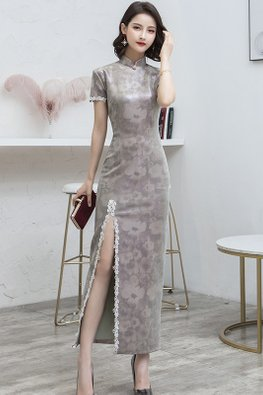 Grey Shine Lace Trimmings Short Sleeves Floral Cheongsam