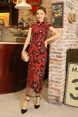 Black / Red Cap Sleeves Retro Lace Cheongsam