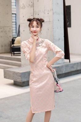 Pink / Blue Mandarin Collar Illusion Front Lace Cheongsam