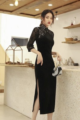 Black Mandarin Collar Lace Sleeves Glitter Cheongsam
