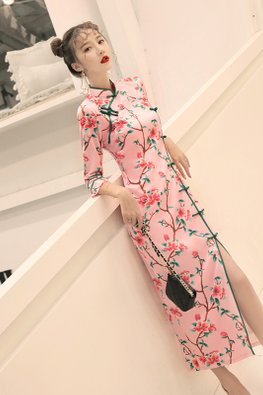 Pink Green Trimmings Blossoms Cheongsam