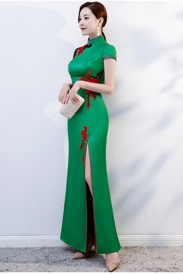Green Mandarin Collar Red Trimmings Side Illusion Cheongsam