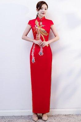 Red Keyhole Mandarin Collar Phoenix Cheongsam