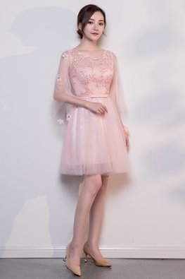 Pink Sweetheart Illusion Flower Petal Sleeves Lace-up Dress